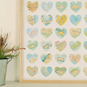 Map Hearts Print Poster - posters & prints
