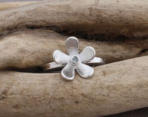 Handmade Silver And Blue Topaz Daisy Stacking Ring