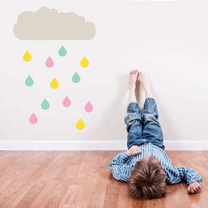 Happy Raindrop Coloured Wall Stickers - bedroom