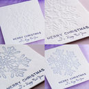 Free Merry Christmas gift card - BLUE or WHITE embossed snowflake
