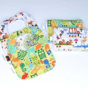 Bib And Burp Cloth Set 'Forest' - bathtime