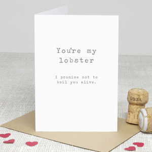 'You're My Lobster' Greetings Card - last-minute valentine's cards