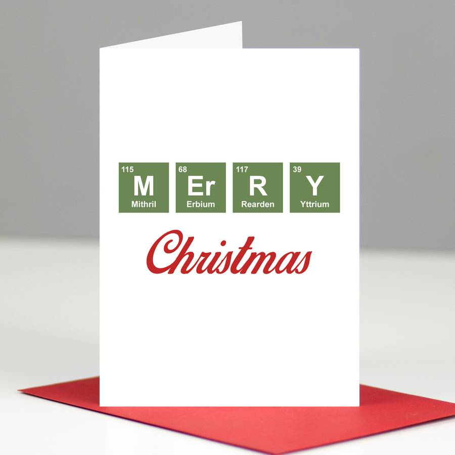Geeky Periodic Table 'Merry Christmas' Card