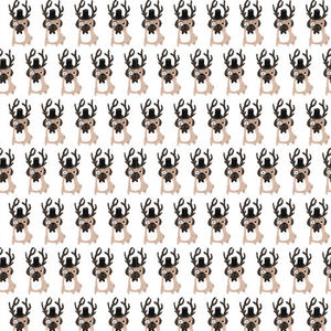 Five Sheets Of Pug Christmas Wrapping Paper - wrapping paper