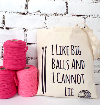 'I Like Big Balls' Knitting Tote Bag