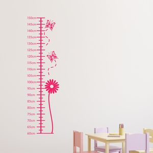 Flower Height Chart Wall Sticker - wall stickers