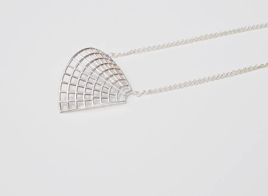 Curved Silver Fan Pendant