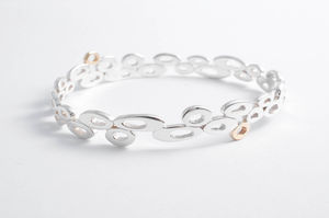 Sterling Silver And 9ct Gold Cloud Bangle - bridal bracelets