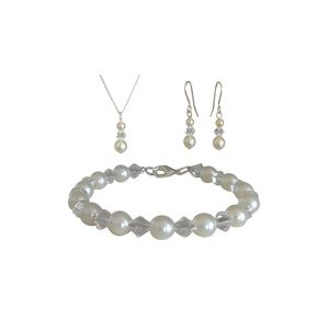 Simple Crystal And Pearl Jewellery Set