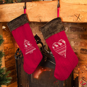 Set Of Two His And Hers Red Nordic Christmas Stockings - view all sale items