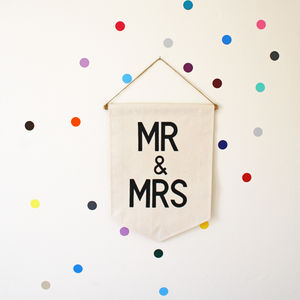 'Mr And Mrs' Hand Painted Banner