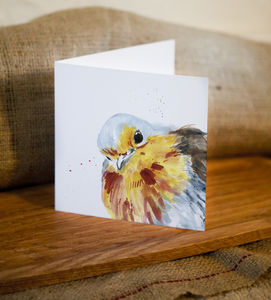 Inky Robin Blank Greetings Card - cards