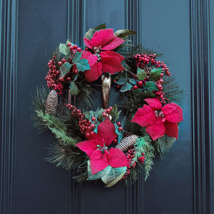 Luxury Poinsettia Pinecones And Berry Wreath - room decorations
