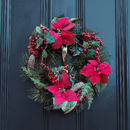 Luxury Poinsettia Pinecones And Berry Wreath
