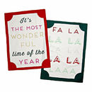 Fa La La La Christmas Tea Towel Set Of Two