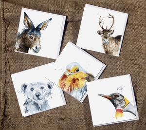 Five Inky Animal Christmassy Blank Greetings Cards