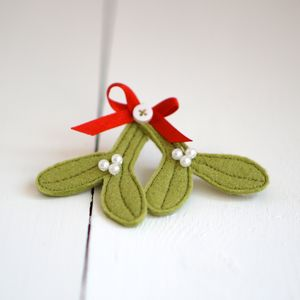 Handmade Felt Mistletoe Brooch - women's jewellery