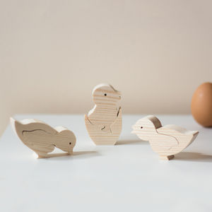 Set Of Three Little Chicks Wooden Ornamanet - home accessories