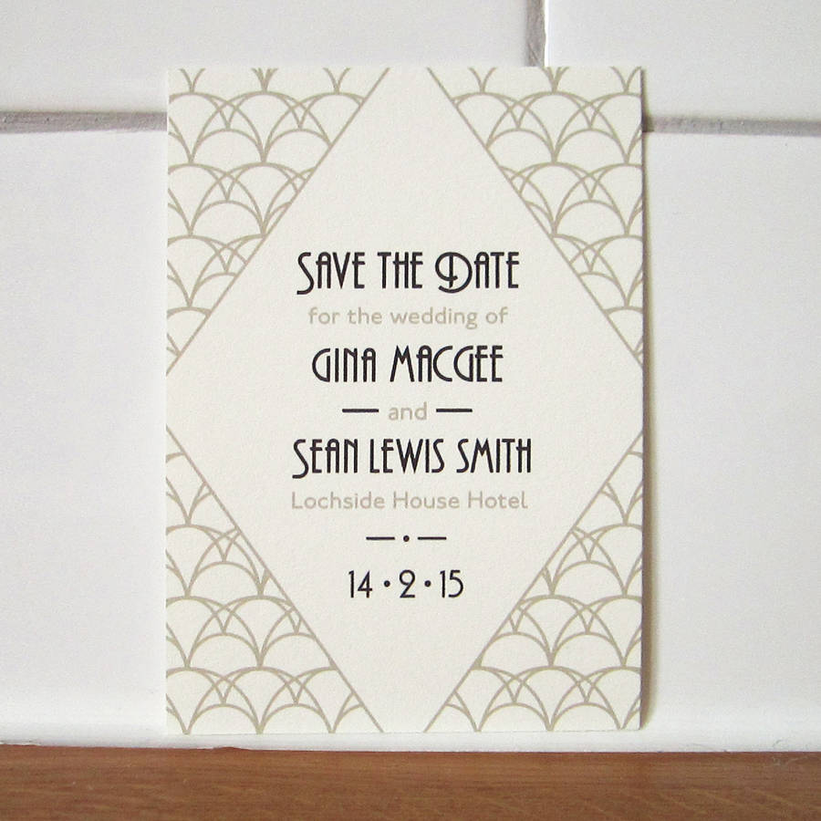 Art Deco Save The Date Card By Lovat Press Notonthehighstreet Com