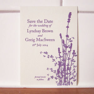 Lavender Wedding Save The Date Card