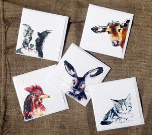 Five Inky Farmyard Animal Blank Greetings Cards