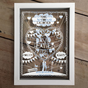 Personalised Love Papercut And Text - wedding gifts