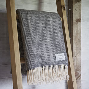 Cashmere And Merino Herringbone Throw - throws, blankets & fabric
