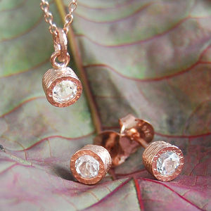 Gemstone White Topaz Rose Gold Jewellery Gift Set - earrings