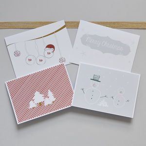 Pack Of Eight Hand Illustrated Christmas Cards