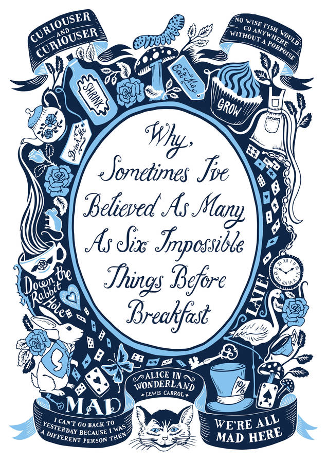 Alice In Wonderland Famous Quotes Print By Lucy Loves