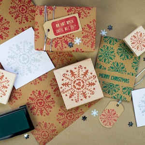 Christmas Motif Snowflake Rubber Stamp - cards & wrap