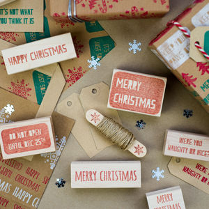 Merry Christmas And Happy Christmas Rubber Stamps - stationery & desk accessories