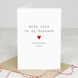 'Husband Love' Christmas Card - wedding cards