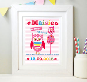 Girl's Personalised Owl Framed Print