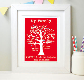 Child's Personalised My Family Tree Framed Print