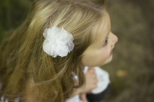 Ellie Beaded Tulle Silk Flower Hair Clip - children's accessories