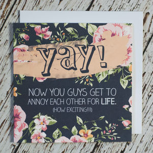 'Yay!' Engagement And Wedding Card - wedding cards & wrap