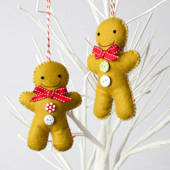 Set Of Two Gingerbread Men Tree Decorations