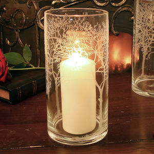 Glass Etched Leaf Candle Jar With Overdipped Candle - candles & candlesticks