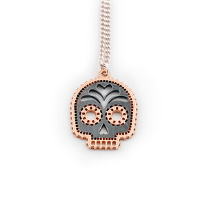Rose Gold Skull Calavara Necklace - day of the dead