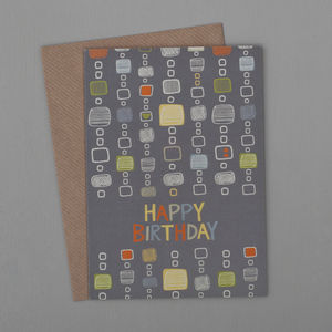 Scribble Squares Birthday Card - birthday cards