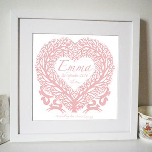 Personalised New Baby And Christening Tree Heart Print - baby's room