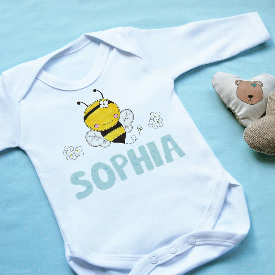 Personalised Bumble Bee Baby Vest Clothing