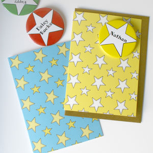 Personalised Star Badge Cards X4 Colours - all purpose cards