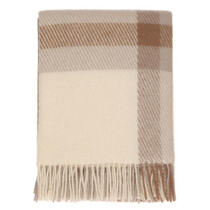Brownish Check Wool Throw