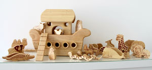 Handmade Natural Wood Noah's Ark Boat