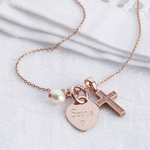 Personalised Petite Rose Gold Heart And Cross Necklace - children's jewellery