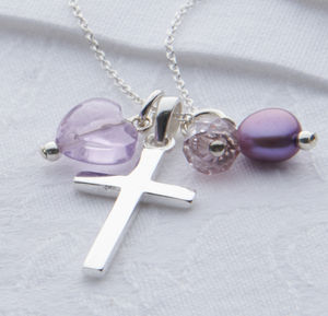 Girl's Sterling Silver Christening And Baptism Necklace - christening gifts