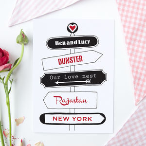 Personalised 'Love' Travel Signpost Card