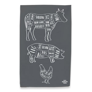 Charcoal Butcher Print Tea Towel - tea towels